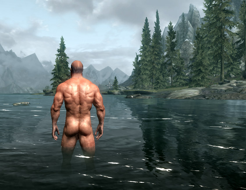 Remarkable, Males naked in lake