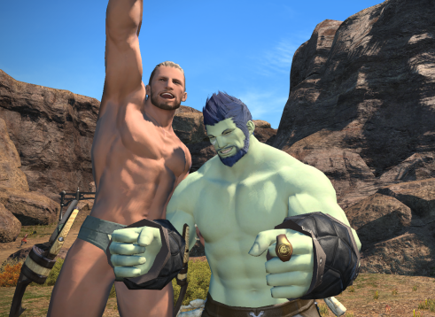 Roegadyn and Hyur Shirtless